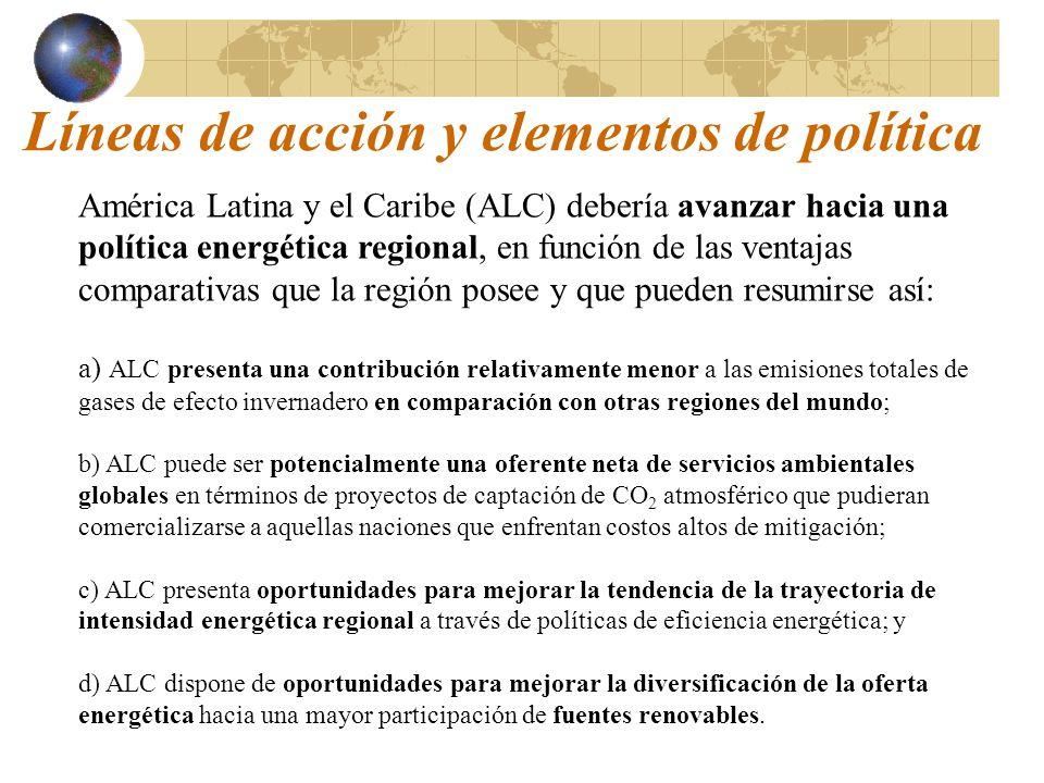 Líneas de acción y elementos de política América Latina y el Caribe (ALC) debería avanzar hacia una política energética regional, en función de las ve