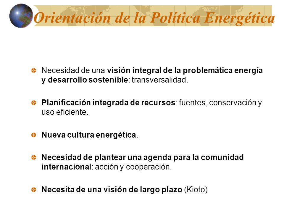 Orientación de la Política Energética Necesidad de una visión integral de la problemática energía y desarrollo sostenible: transversalidad. Planificac