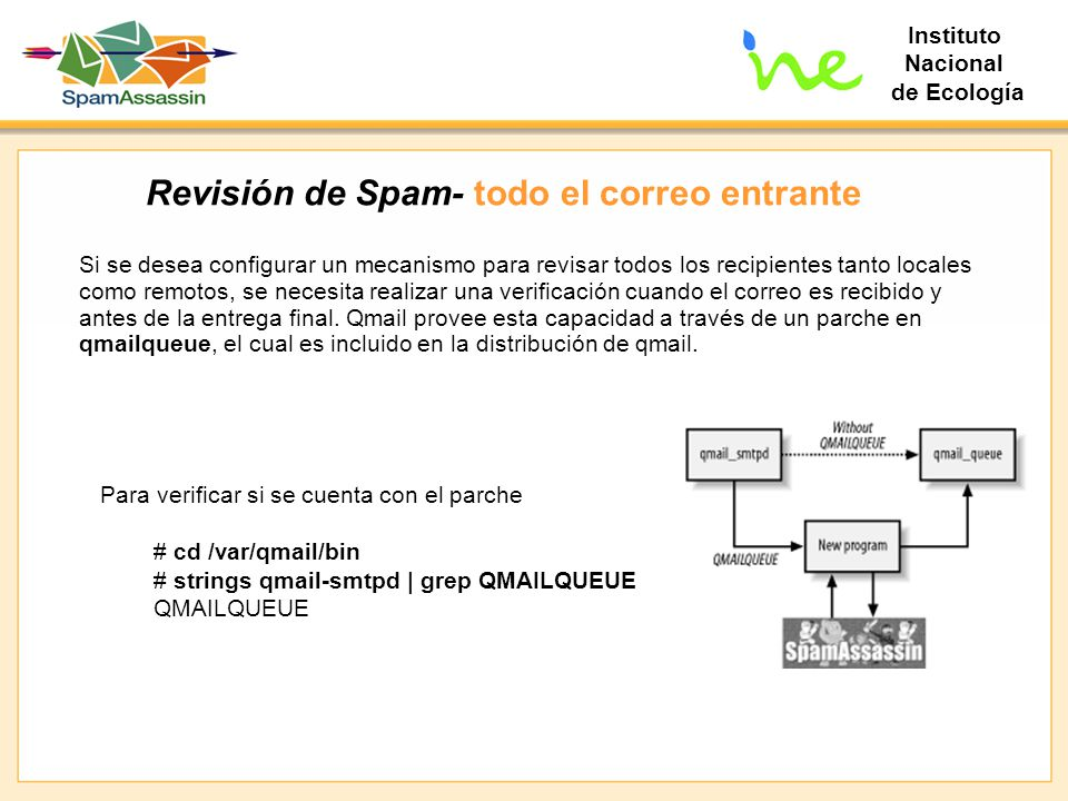 Instituto Nacional de Ecología Revisión de Spam- todo el correo entrante Si se desea configurar un mecanismo para revisar todos los recipientes tanto