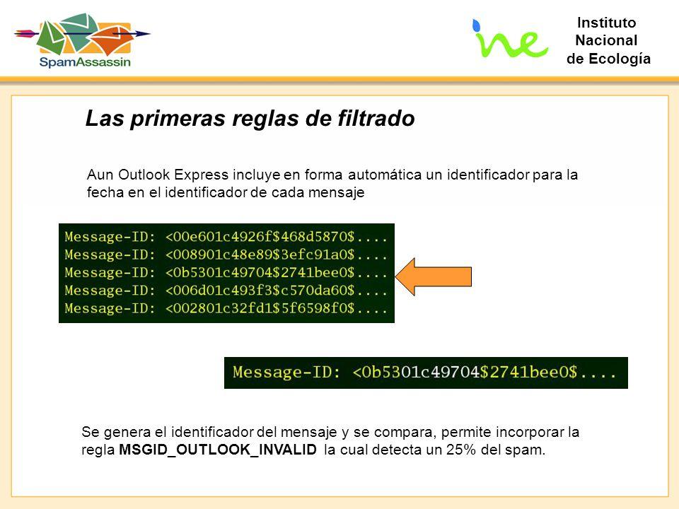 Instituto Nacional de Ecología Las primeras reglas de filtrado Aun Outlook Express incluye en forma automática un identificador para la fecha en el id