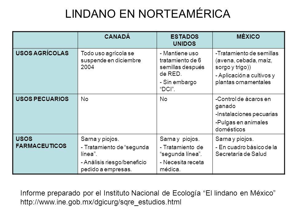 LINDANO EN NORTEAMÉRICA CANADÁESTADOS UNIDOS MÉXICO USOS AGRÍCOLASTodo uso agrícola se suspende en diciembre 2004 - Mantiene uso tratamiento de 6 semillas después de RED.