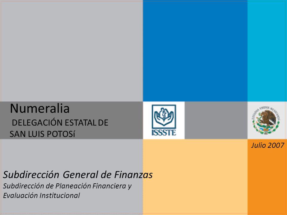 Numeralia DELEGACIÓN ESTATAL DE SAN LUIS POTOSí Subdirección General de Finanzas Subdirección de Planeación Financiera y Evaluación Institucional Juli