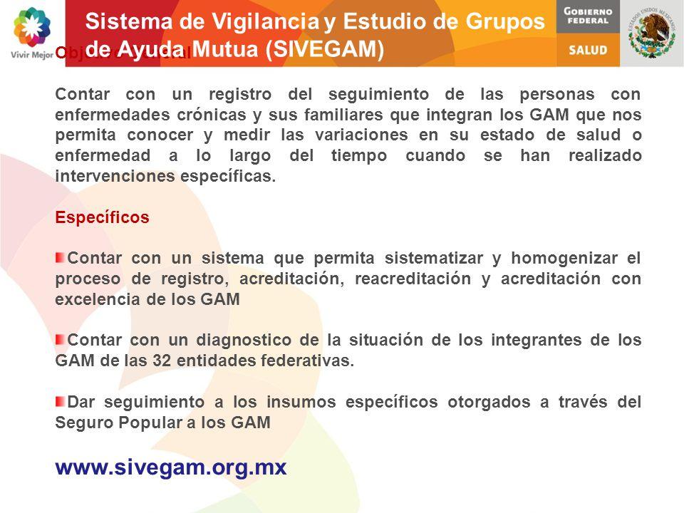 Objetivo General Contar con un registro del seguimiento de las personas con enfermedades crónicas y sus familiares que integran los GAM que nos permit
