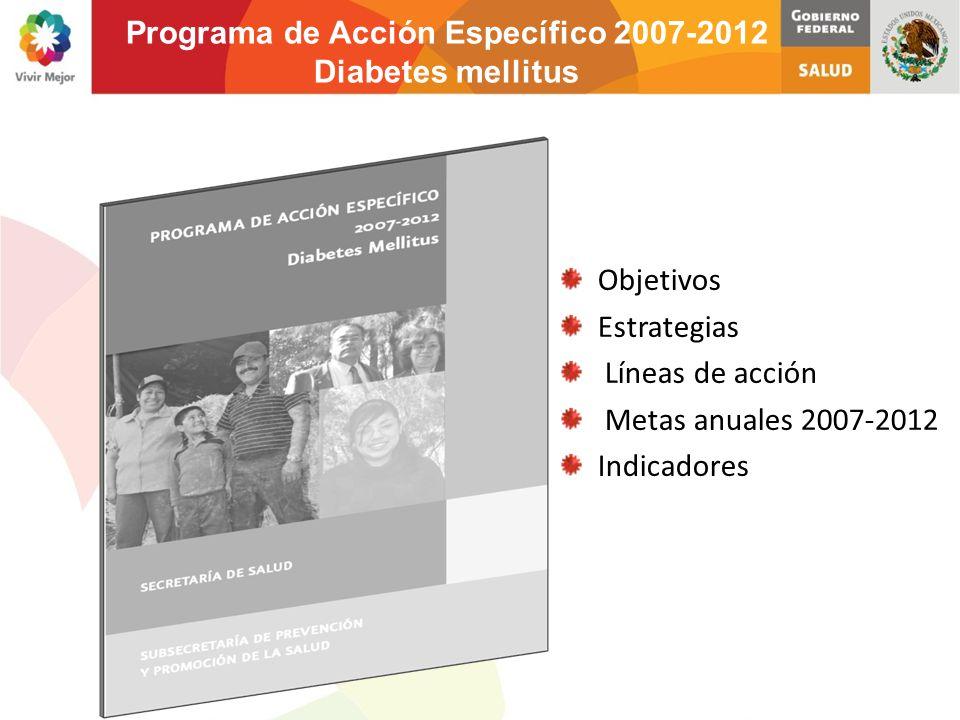 Objetivos Estrategias Líneas de acción Metas anuales 2007-2012 Indicadores Programa de Acción Específico 2007-2012 Diabetes mellitus