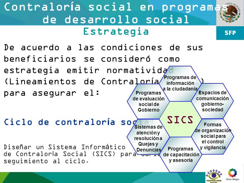 10 Contraloría social en programas de desarrollo social Estrategia De acuerdo a las condiciones de sus beneficiarios se consideró como estrategia emit