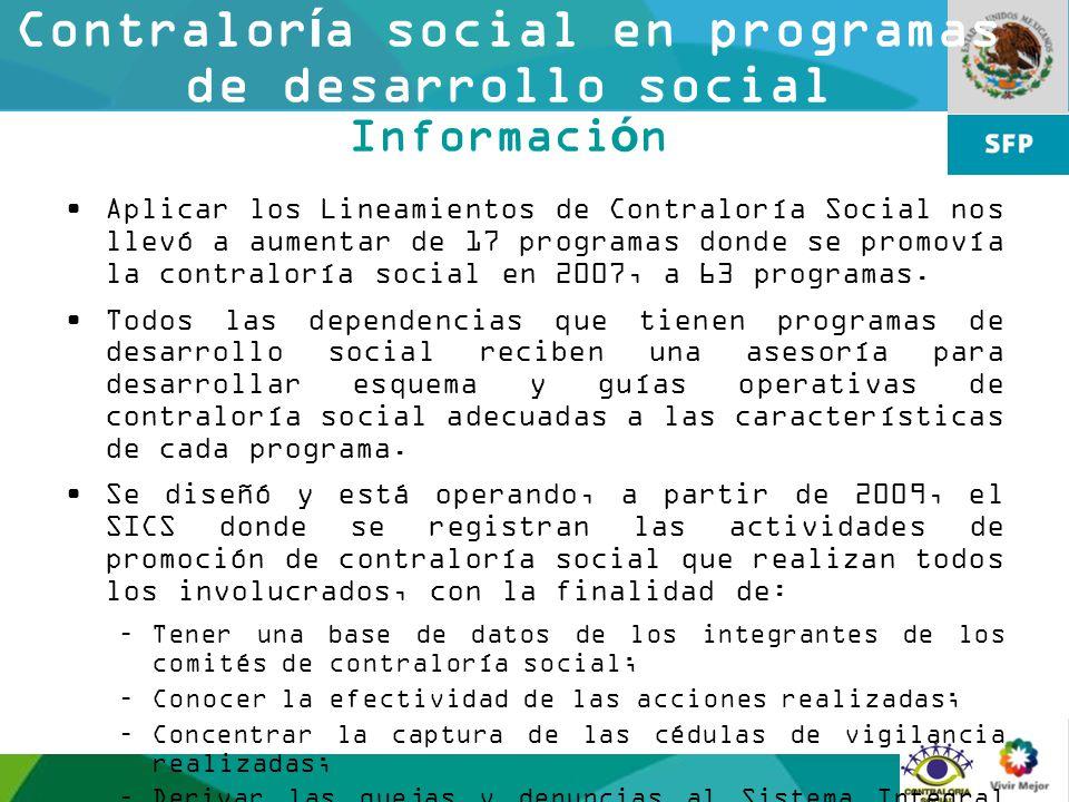 12 Contraloría social en programas de desarrollo social Información Aplicar los Lineamientos de Contraloría Social nos llevó a aumentar de 17 programa