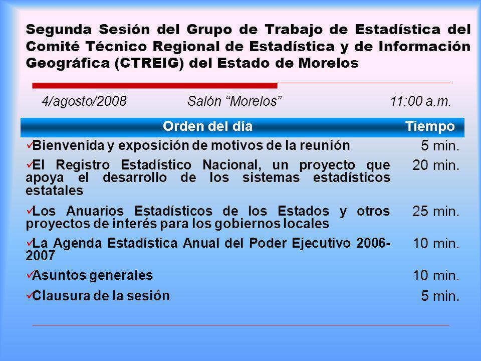 Segunda Sesión del Grupo de Trabajo de Estadística del Comité Técnico Regional de Estadística y de Información Geográfica (CTREIG) del Estado de Morelos Orden del díaTiempo Bienvenida y exposición de motivos de la reunión 5 min.