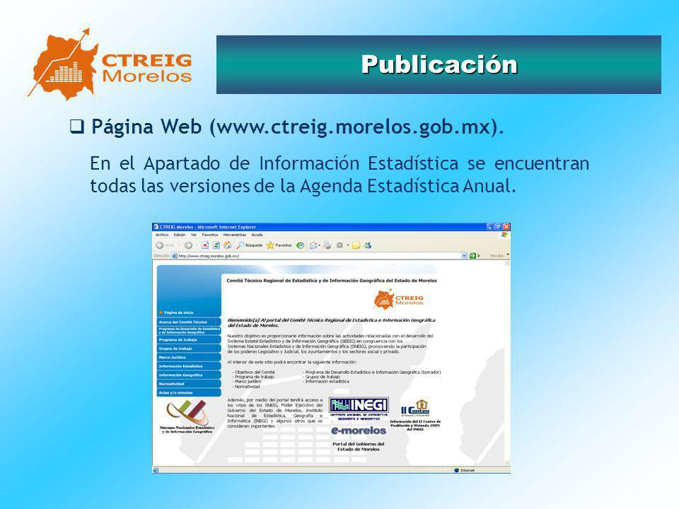 Publicación Página Web (www.ctreig.morelos.gob.mx). En el Apartado de Información Estadística se encuentran todas las versiones de la Agenda Estadísti