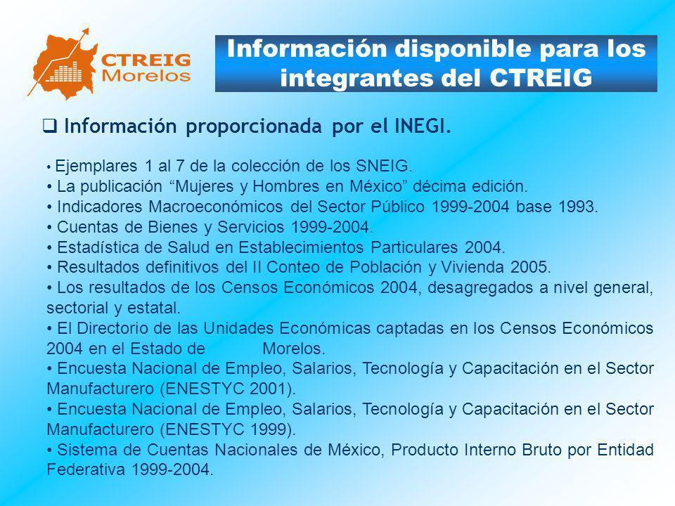 Información disponible para los integrantes del CTREIG Información proporcionada por el INEGI. Ejemplares 1 al 7 de la colección de los SNEIG. La publ