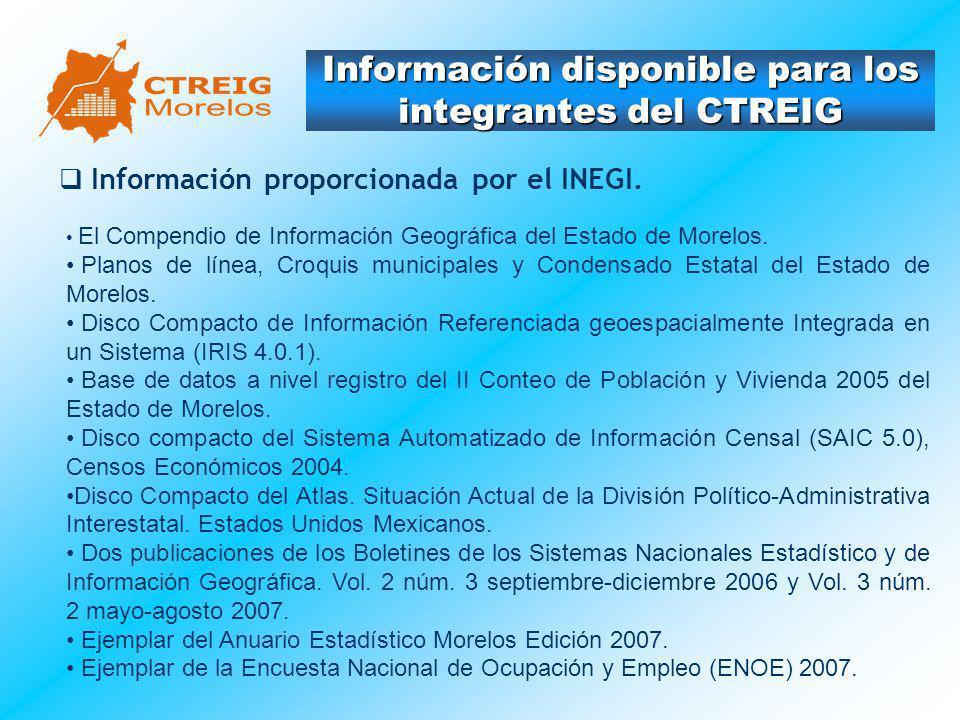 Información disponible para los integrantes del CTREIG Información proporcionada por el INEGI. El Compendio de Información Geográfica del Estado de Mo