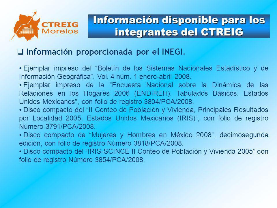 Información disponible para los integrantes del CTREIG Información proporcionada por el INEGI. Ejemplar impreso del Boletín de los Sistemas Nacionales