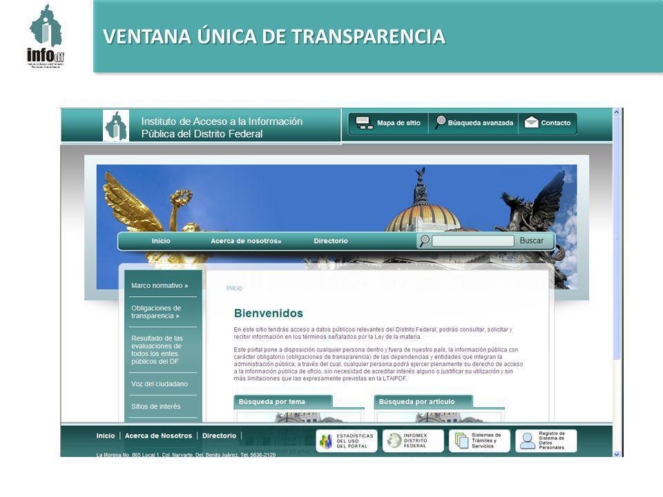 VENTANA ÚNICA DE TRANSPARENCIA Instituto de Acceso a la Información Pública del Distrito Federal