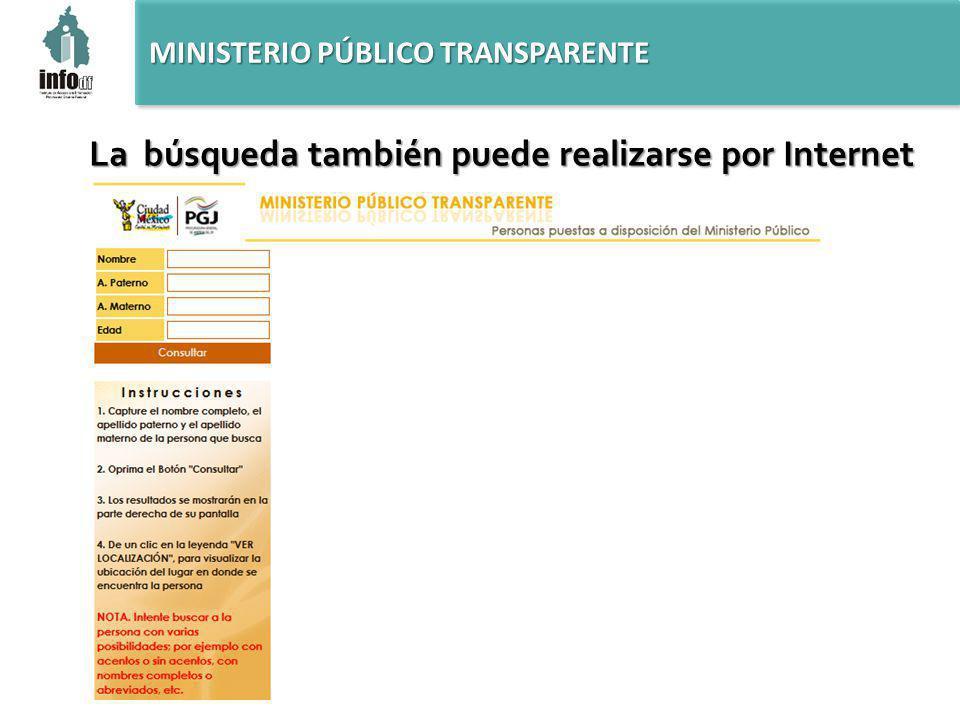 MINISTERIO PÚBLICO TRANSPARENTE La búsqueda también puede realizarse por Internet