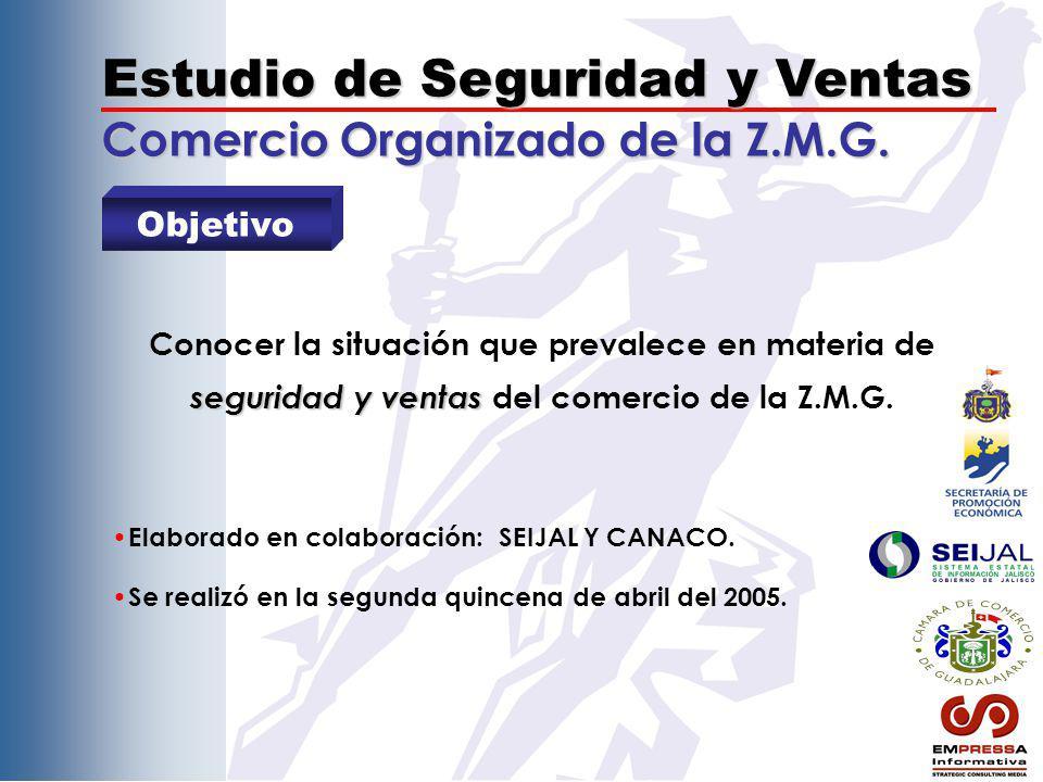 Estudio de Seguridad y Ventas Comercio Organizado de la Z.M.G. Objetivo seguridad y ventas Conocer la situación que prevalece en materia de seguridad