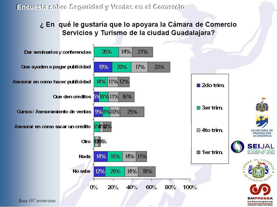 ¿ En qué le gustaría que lo apoyara la Cámara de Comercio Servicios y Turismo de la ciudad Guadalajara? Encuesta sobre Seguridad y Ventas en el Comerc