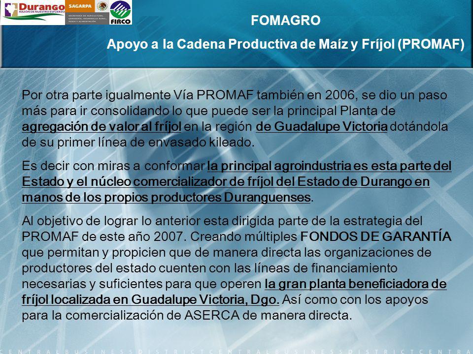 Por otra parte, para avanzar situando a los productores de fríjol de Durango como los CAMPEONES NACIONALES DE FRÍJOLES PINTOS PREFERENTES DE ALTA CALIDAD Y PARA DISMINUIR EL DEFICIT MAICERO DEL ESTADO.