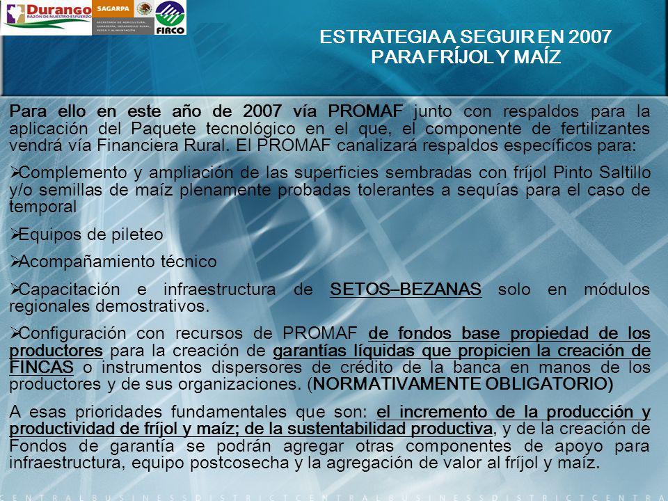 Para ello en este año de 2007 vía PROMAF junto con respaldos para la aplicación del Paquete tecnológico en el que, el componente de fertilizantes vend