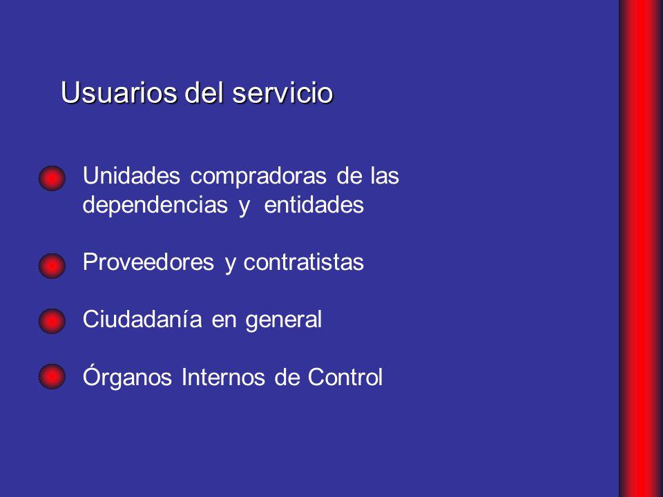 Unidades compradoras de las dependencias y entidades Proveedores y contratistas Ciudadanía en general Órganos Internos de Control Usuarios del servicio