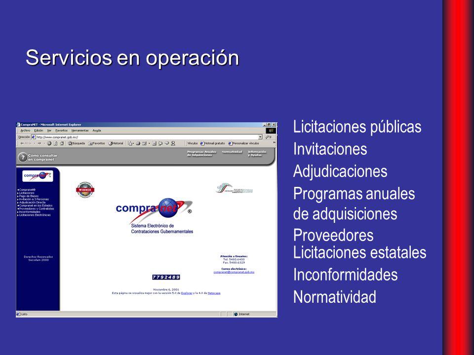 Servicios en operación Programas anuales de adquisiciones Licitaciones estatales Proveedores Inconformidades Normatividad Invitaciones Adjudicaciones Licitaciones públicas