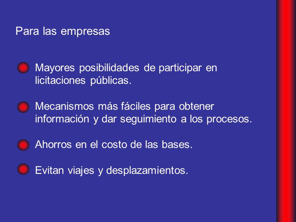 Para las empresas Mayores posibilidades de participar en licitaciones públicas.