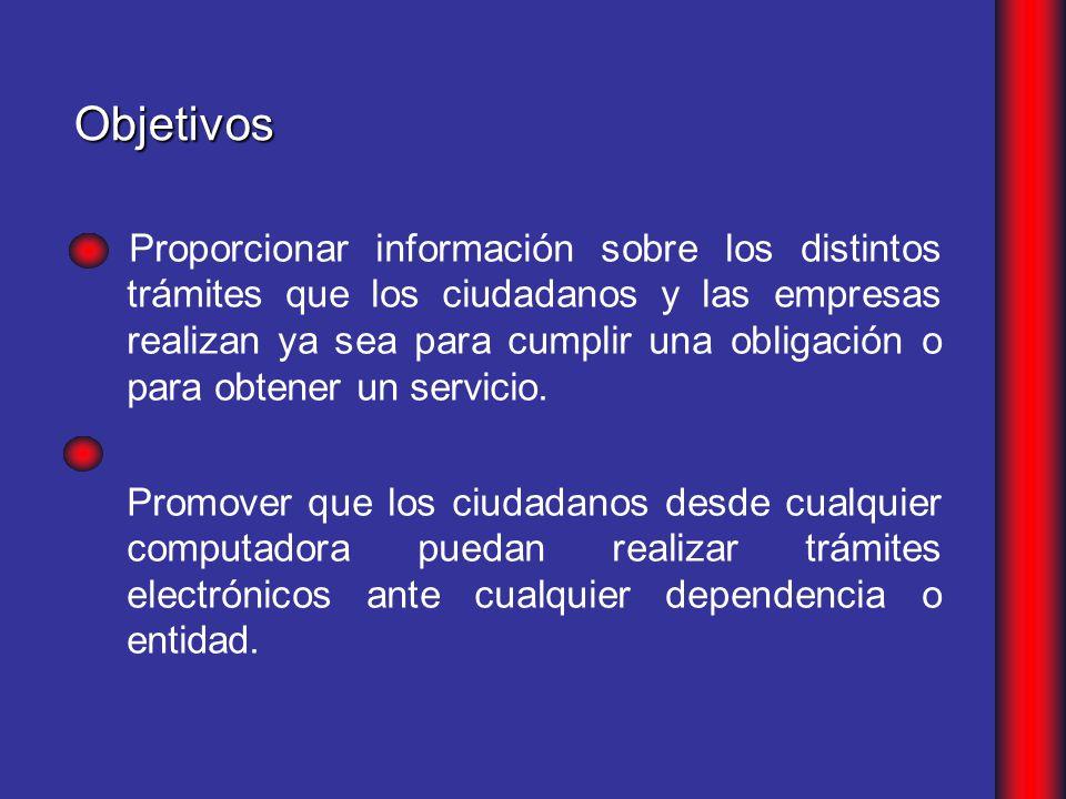 Proporcionar información sobre los distintos trámites que los ciudadanos y las empresas realizan ya sea para cumplir una obligación o para obtener un servicio.