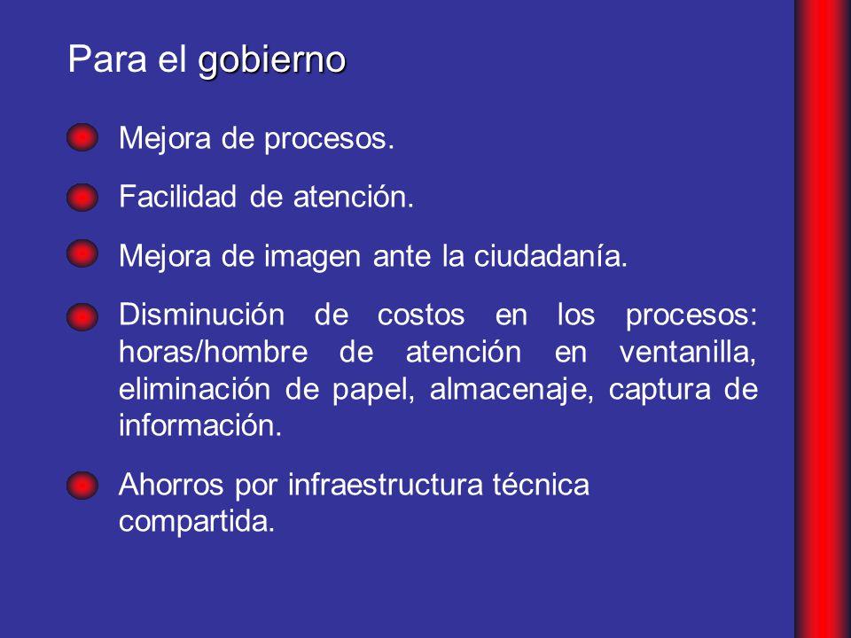 gobierno Para el gobierno Mejora de procesos.Facilidad de atención.
