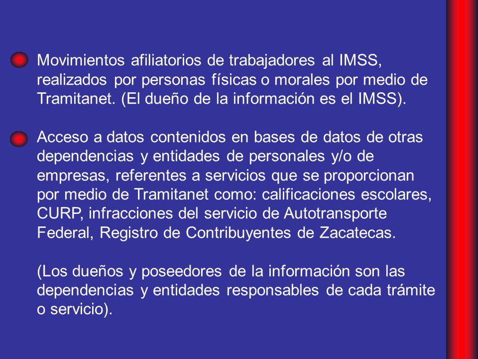 Movimientos afiliatorios de trabajadores al IMSS, realizados por personas físicas o morales por medio de Tramitanet.