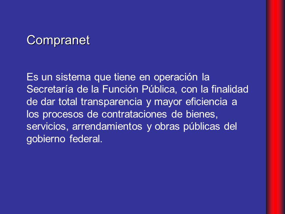 Es un sistema que tiene en operación la Secretaría de la Función Pública, con la finalidad de dar total transparencia y mayor eficiencia a los procesos de contrataciones de bienes, servicios, arrendamientos y obras públicas del gobierno federal.