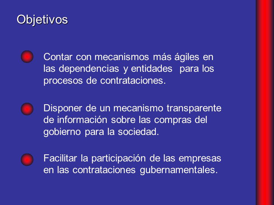 Objetivos Contar con mecanismos más ágiles en las dependencias y entidades para los procesos de contrataciones.