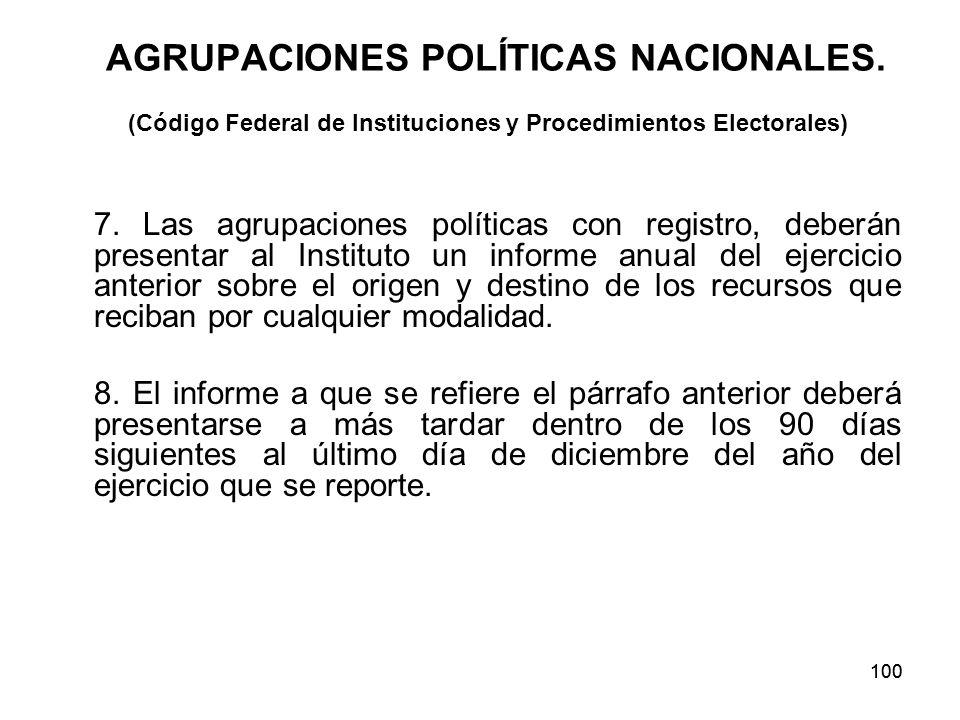 100 AGRUPACIONES POLÍTICAS NACIONALES.