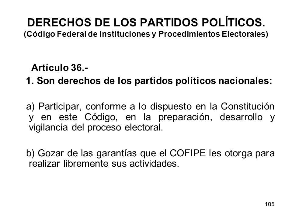 105 DERECHOS DE LOS PARTIDOS POLÍTICOS.