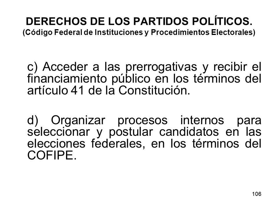 106 DERECHOS DE LOS PARTIDOS POLÍTICOS.