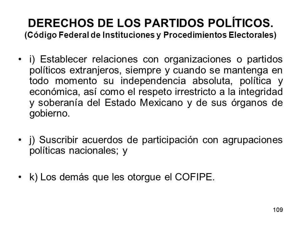 109 DERECHOS DE LOS PARTIDOS POLÍTICOS.