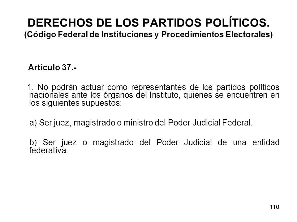 110 DERECHOS DE LOS PARTIDOS POLÍTICOS.