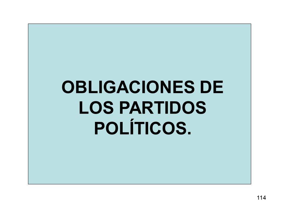 114 OBLIGACIONES DE LOS PARTIDOS POLÍTICOS.