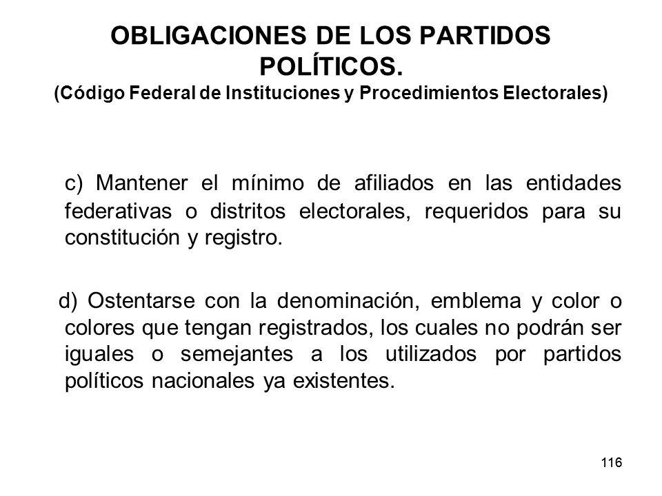 116 OBLIGACIONES DE LOS PARTIDOS POLÍTICOS.