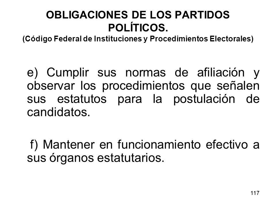 117 OBLIGACIONES DE LOS PARTIDOS POLÍTICOS.