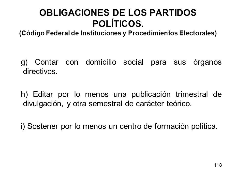 118 OBLIGACIONES DE LOS PARTIDOS POLÍTICOS.