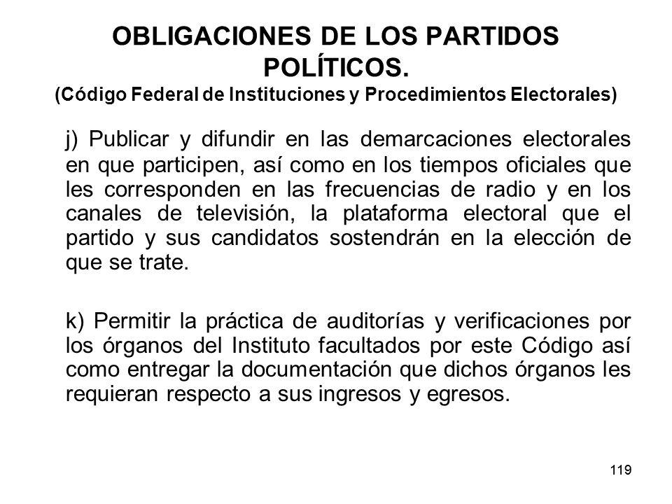 119 OBLIGACIONES DE LOS PARTIDOS POLÍTICOS.