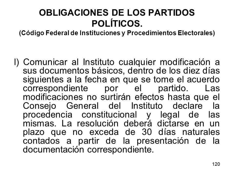 120 OBLIGACIONES DE LOS PARTIDOS POLÍTICOS.