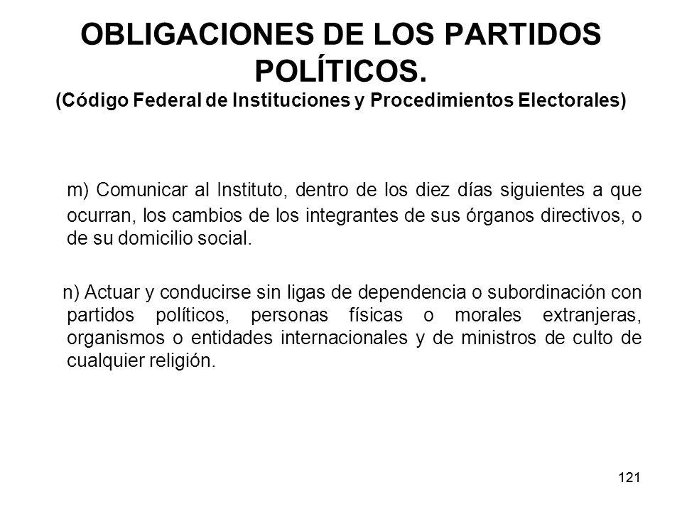 121 OBLIGACIONES DE LOS PARTIDOS POLÍTICOS.