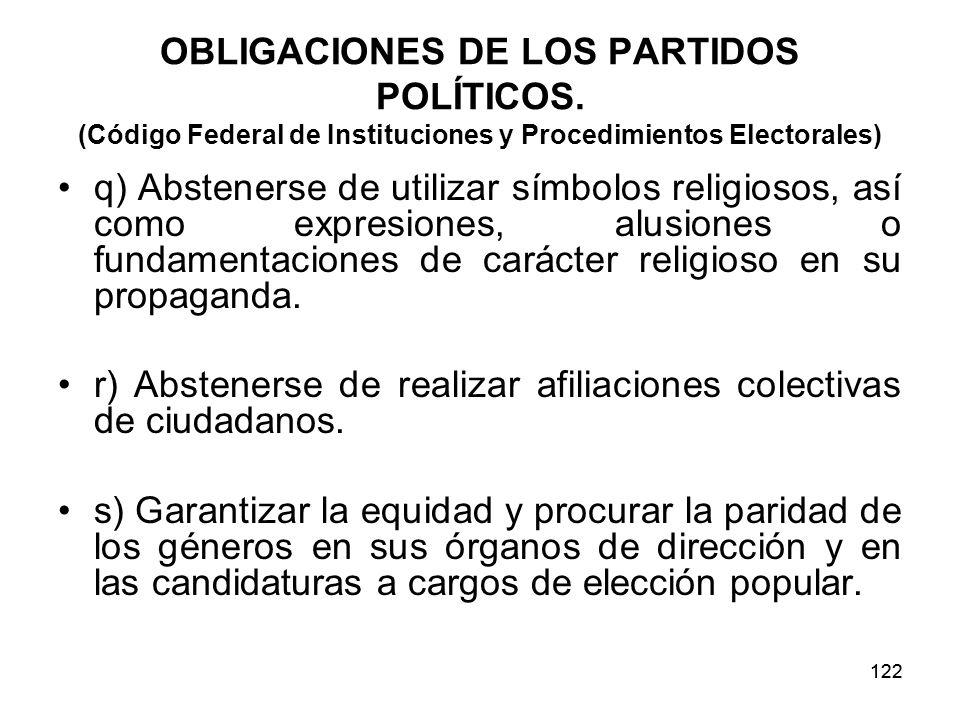 122 OBLIGACIONES DE LOS PARTIDOS POLÍTICOS.
