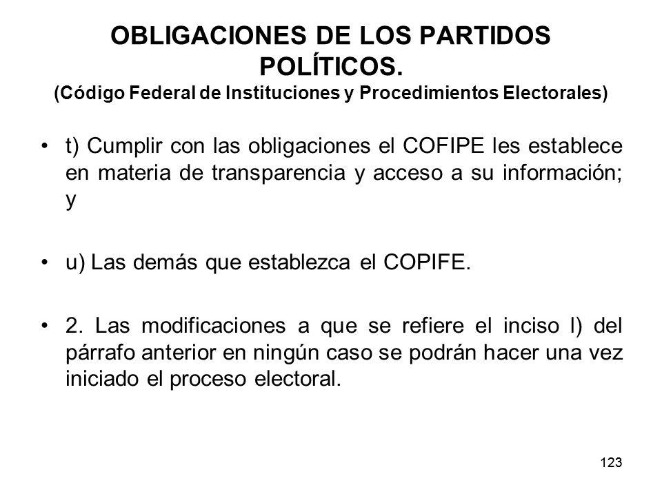 123 OBLIGACIONES DE LOS PARTIDOS POLÍTICOS.