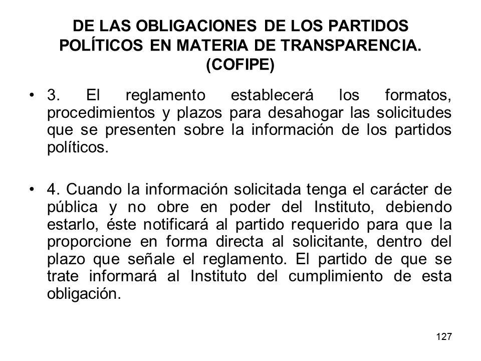 127 DE LAS OBLIGACIONES DE LOS PARTIDOS POLÍTICOS EN MATERIA DE TRANSPARENCIA.