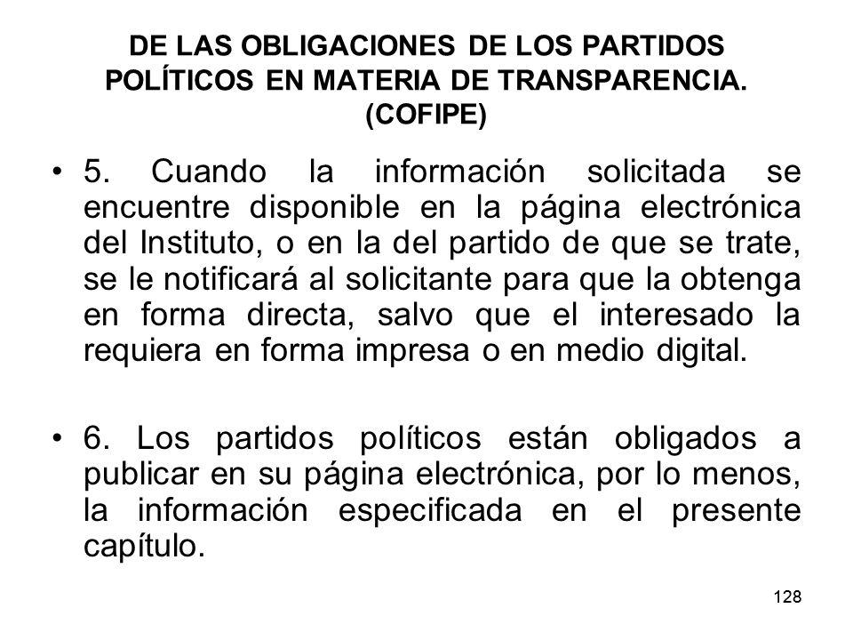128 DE LAS OBLIGACIONES DE LOS PARTIDOS POLÍTICOS EN MATERIA DE TRANSPARENCIA.