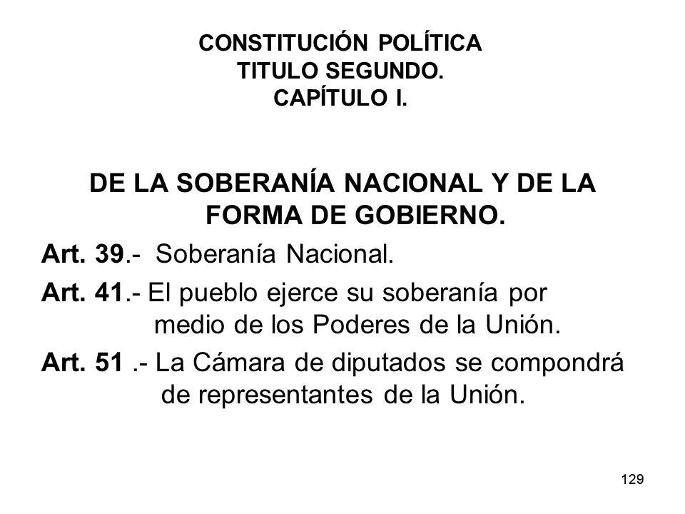 129 CONSTITUCIÓN POLÍTICA TITULO SEGUNDO.CAPÍTULO I.