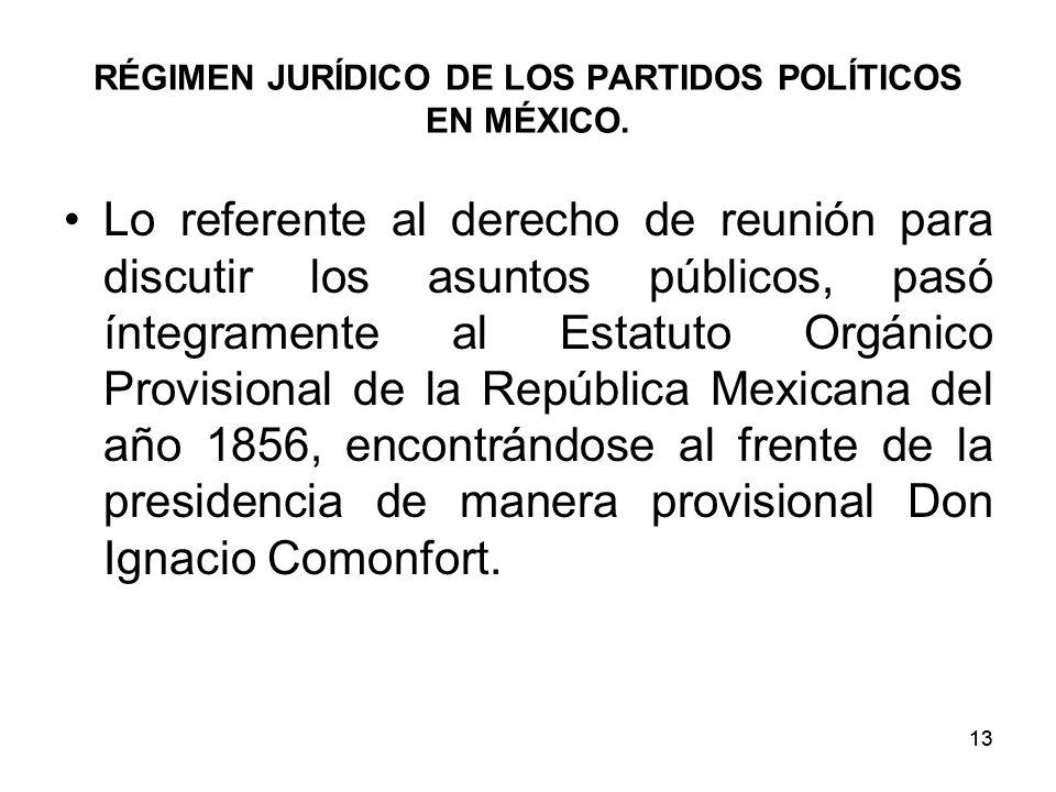 13 RÉGIMEN JURÍDICO DE LOS PARTIDOS POLÍTICOS EN MÉXICO.