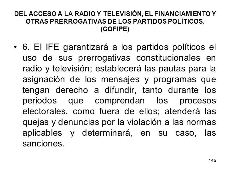 145 DEL ACCESO A LA RADIO Y TELEVISIÓN, EL FINANCIAMIENTO Y OTRAS PRERROGATIVAS DE LOS PARTIDOS POLÍTICOS.