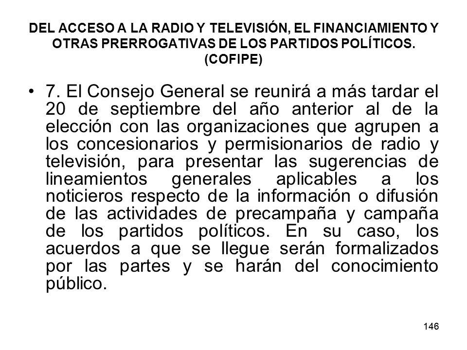 146 DEL ACCESO A LA RADIO Y TELEVISIÓN, EL FINANCIAMIENTO Y OTRAS PRERROGATIVAS DE LOS PARTIDOS POLÍTICOS.