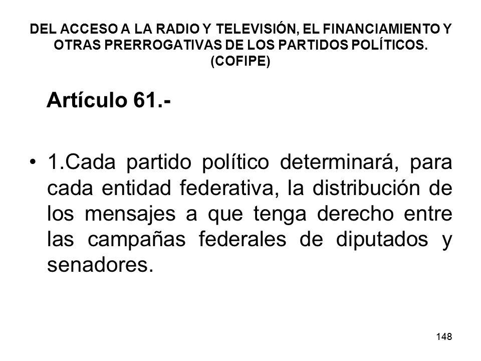 148 DEL ACCESO A LA RADIO Y TELEVISIÓN, EL FINANCIAMIENTO Y OTRAS PRERROGATIVAS DE LOS PARTIDOS POLÍTICOS.